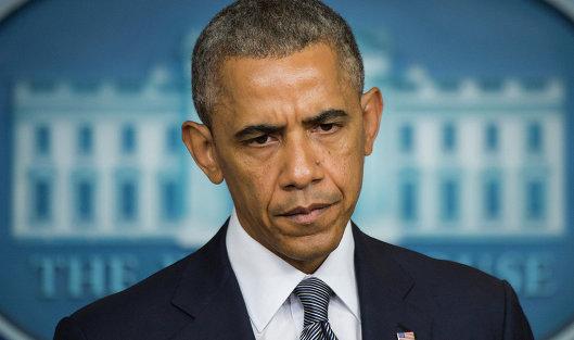 Президент США Барак Обама во время выступления в Белом доме Вашингтон