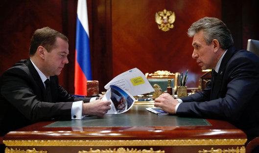 *Рабочая встреча премьер-министра РФ Д. Медведева с председателем ВЭБ С. Горьковым