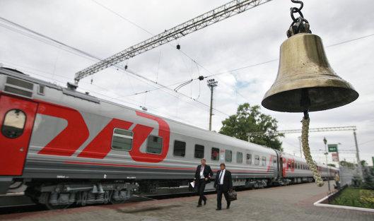 """Поезд ОАО """"РЖД"""" на Рижском вокзале"""