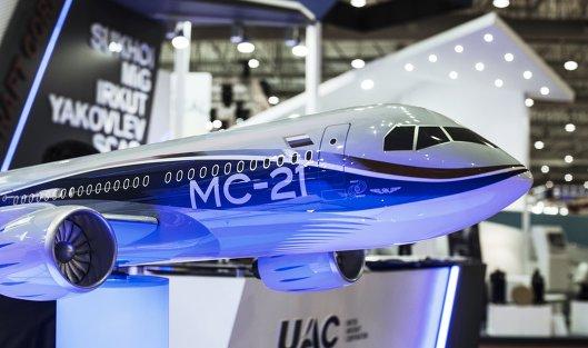 #Модель самолета МС-21 на стенде на стенде Объединенной авиастроительной корпорации