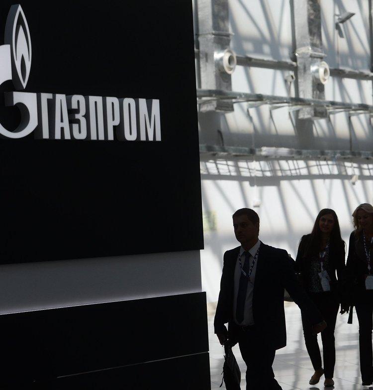 "Стенд с логотипом компании ""Газпром"" на международном инвестиционном форуме ""Сочи 2016"""