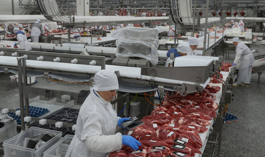 В цехе мясоперерабатывающего предприятия