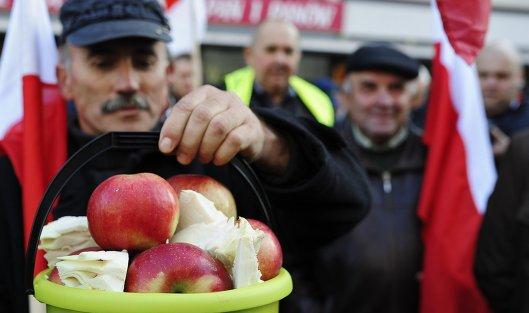 Марш сотен польских фермеров как протест против запрета России на ввоз польских овощей и фруктов