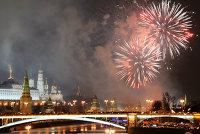 """"""" Праздничный фейерверк в Москве в новогоднюю ночь"""