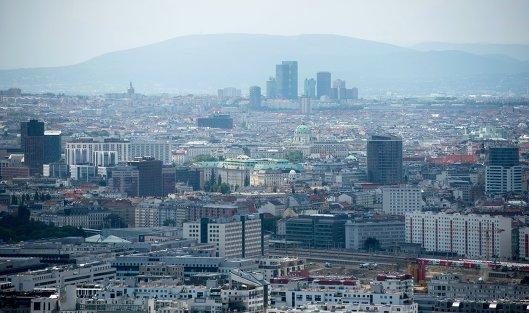 Вид на Вену с Дунайской телебашни