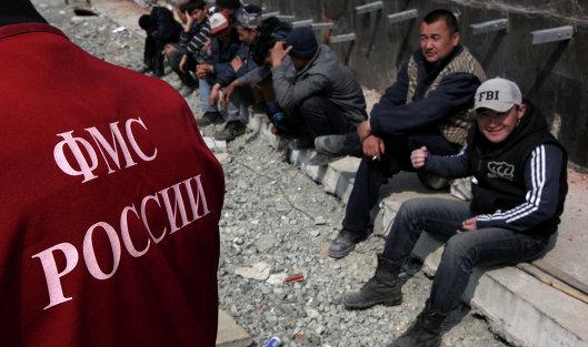 #Иностранные рабочие во время проведения рейда по выявлению нелегальных мигрантов