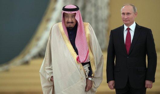 #Президент РФ Владимир Путин и король Саудовской Аравии Сальман Бен Абдель Азиз Аль Сауд во время встречи
