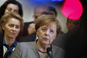 Лидер ХДС, канцлер Германии Ангела Меркель во время пресс-конференции по итогам переговоров о формировании коалиционного правительства в Берлине