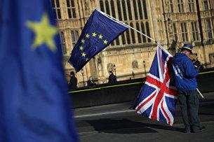 """"""" Демонстрант с флагами ЕС и Великобритании в центре Лондона"""