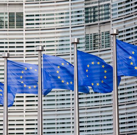Флаги евросоюза на фоне здания Европейской комиссии