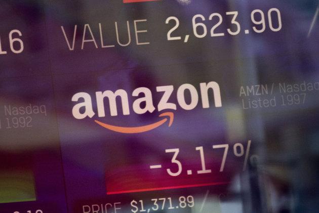 %Индекс торговли компании Amazon, показанный на информационной панели биржи NASDAQ. 9 февраля 2018