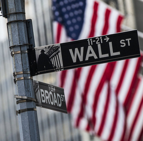 %Информационный указатель на Уолл-стрит в Нью-Йорке