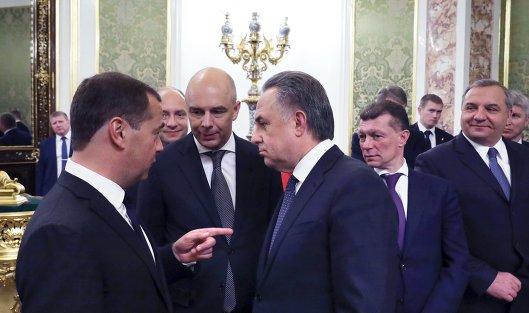 Дмитрий Медведев, Виталий Мутко и Антон Силуанов перед началом встречи с президентом РФ Владимиром Путиным. 6 мая 2018