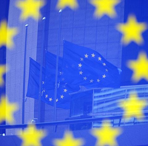 # Флаги ЕС в Европейском квартале в Брюсселе