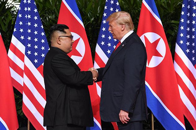 %Рукопожатие Трампа и Ким Чен Ына 12.06.2018