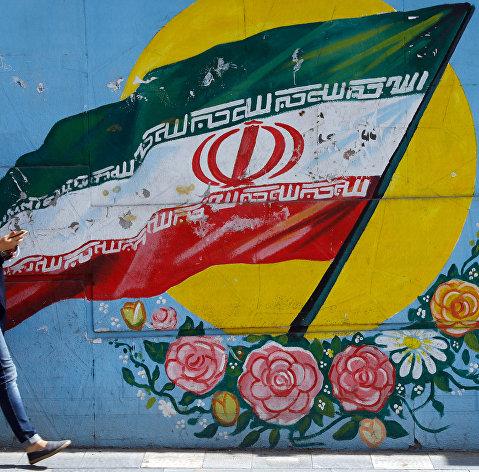 #Граффити с изображением флага Ирана в Тегеране