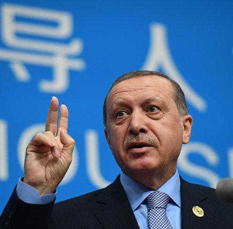 Президент Турции Реджеп Тайип Эрдоган выступает на саммите G20 в Ханчжоу