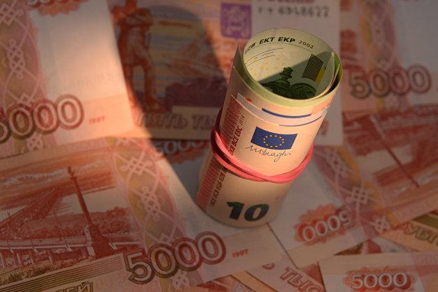Денежные купюры России и Европейского Союза