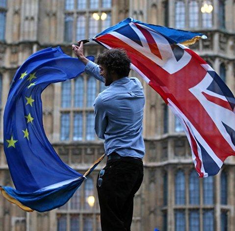 %Участник протеста против Brexit возле здания парламента в Лондоне