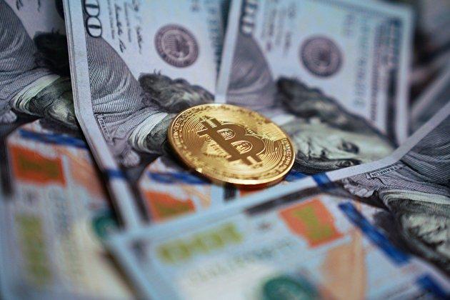#Монета с логотипом криптовалюты биткоин
