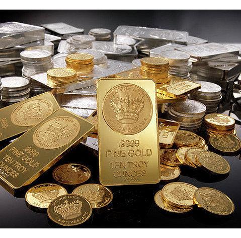 Золотые и серебряные слитки и монеты