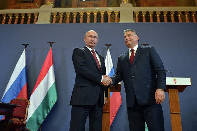 #Президент России Владимир Путин (слева) и премьер-министр Венгерской Республики Виктор Орбан