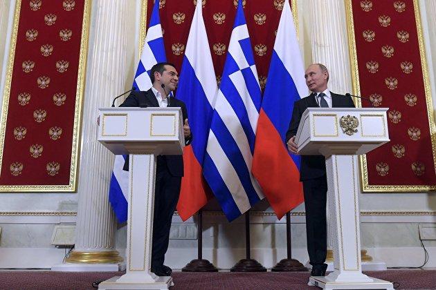 Встреча президента РФ В. Путина с премьер-министром Греции А. Ципрасом