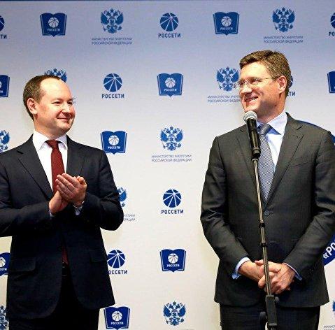 Павел Ливинский и Александр Новак на церемонии поздравления победителей олимпиады школьников