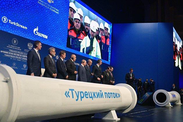 """""""Газпром"""" поставил по """"Турецкому потоку"""" первый миллиард кубометров газа"""