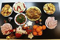 Новогодний стол за 1 тысячу рублей.