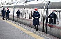 """Поезд """"Сапсан"""" на Ленинградском вокзале в Москве"""