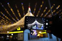Экран смартфона с изображением новогодней елки