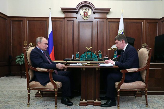 Президент РФ В. Путин встретился с главой Минэкономразвития М. Решетниковым