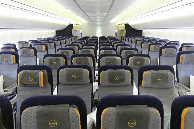 Салон самолета авиакомпании Lufthansa