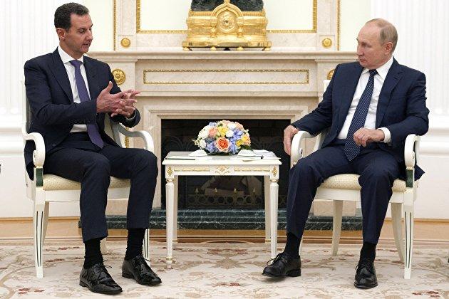Президенты России и Сирии Владимир Путин и Башар Асад провели встречу в Кремле